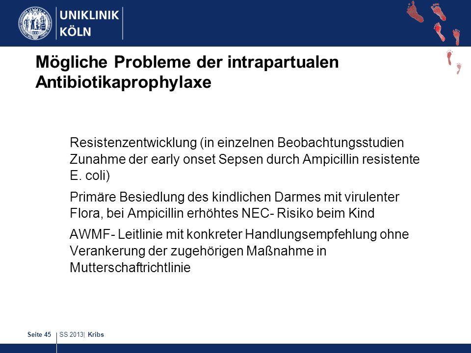 Mögliche Probleme der intrapartualen Antibiotikaprophylaxe