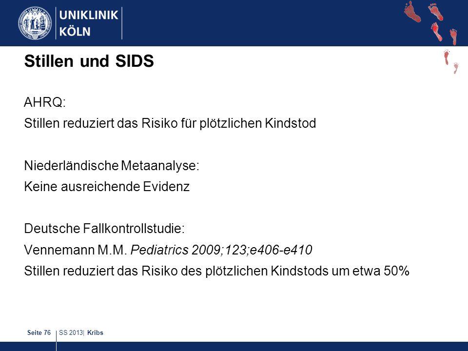 Stillen und SIDS AHRQ: Stillen reduziert das Risiko für plötzlichen Kindstod. Niederländische Metaanalyse: