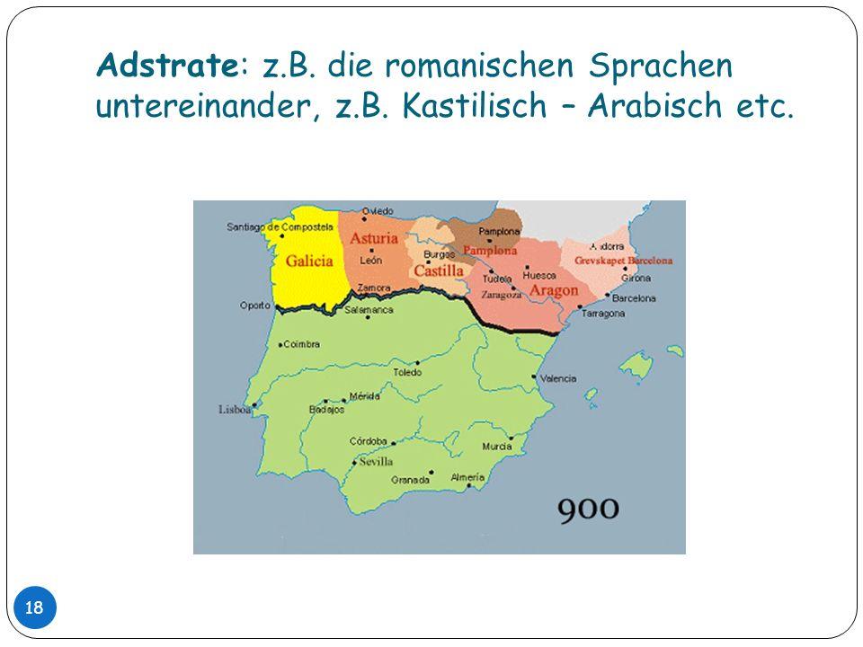 Adstrate: z. B. die romanischen Sprachen untereinander, z. B