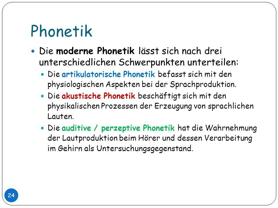 Phonetik Die moderne Phonetik lässt sich nach drei unterschiedlichen Schwerpunkten unterteilen: