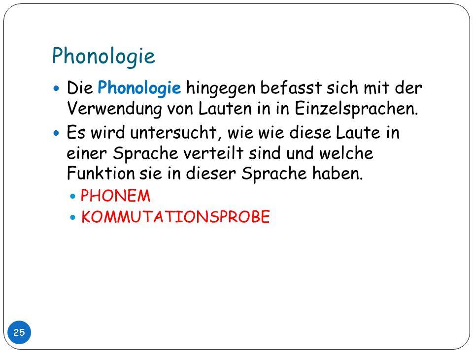 Phonologie Die Phonologie hingegen befasst sich mit der Verwendung von Lauten in in Einzelsprachen.