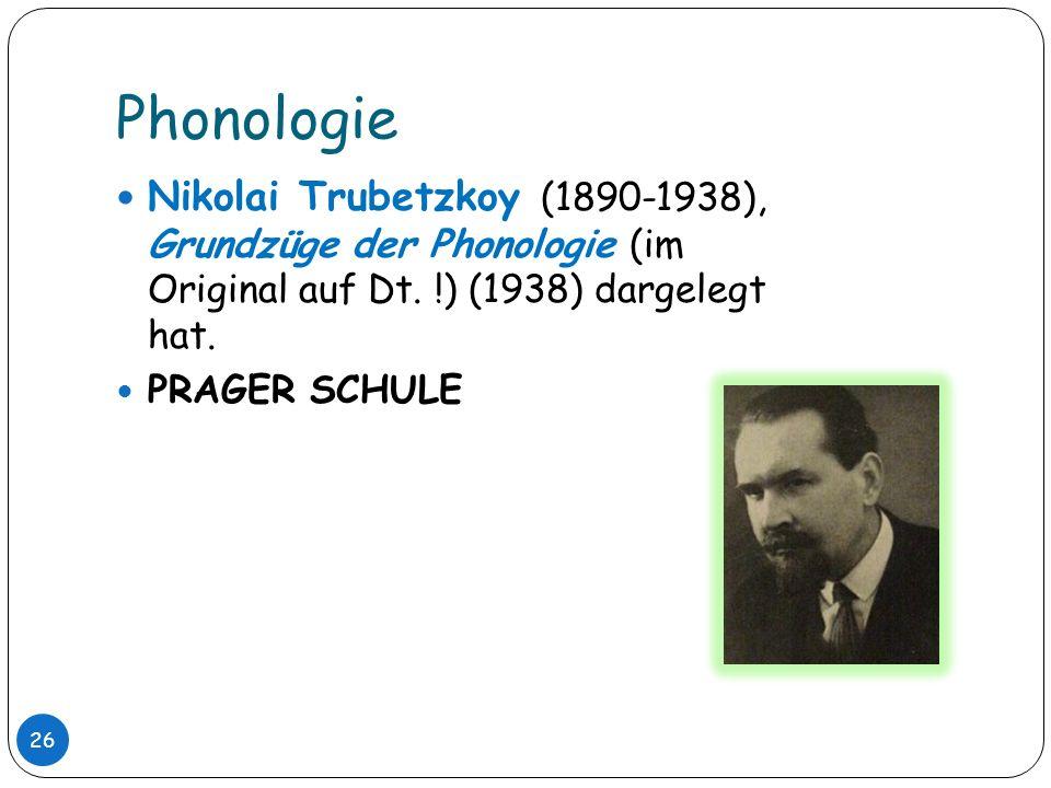 PhonologieNikolai Trubetzkoy (1890-1938), Grundzüge der Phonologie (im Original auf Dt. !) (1938) dargelegt hat.