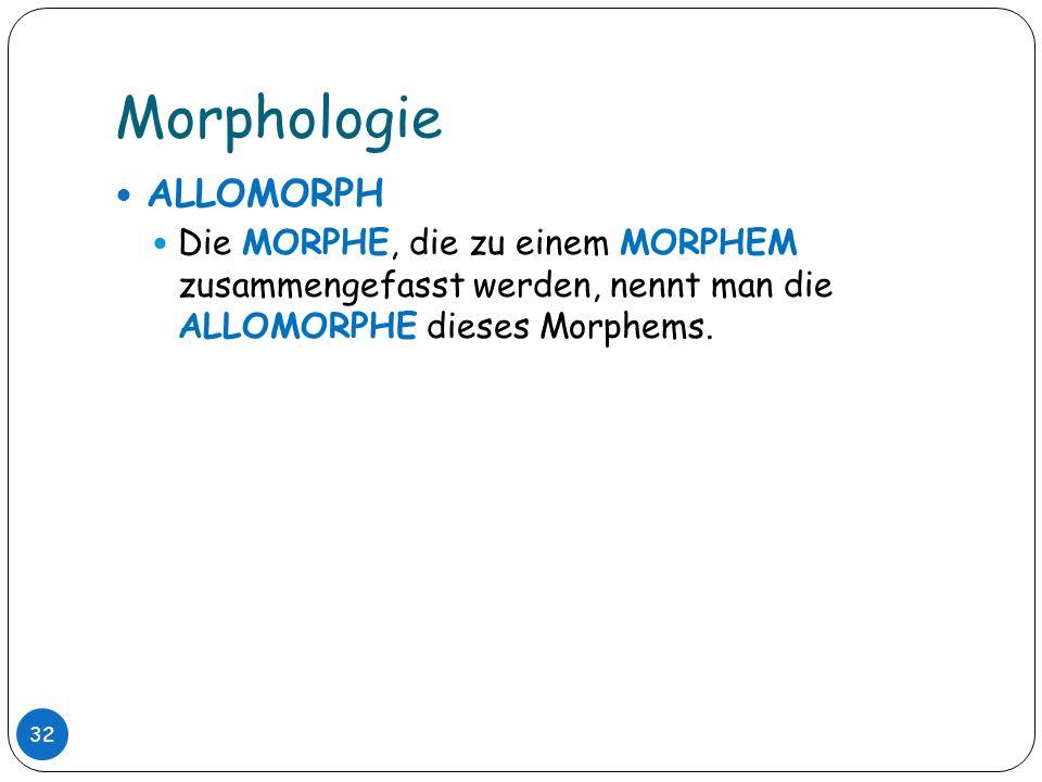 Morphologie ALLOMORPH