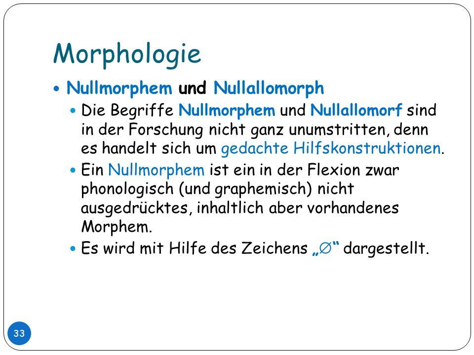 Morphologie Nullmorphem und Nullallomorph
