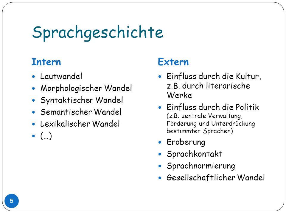 Sprachgeschichte Intern Extern Lautwandel Morphologischer Wandel