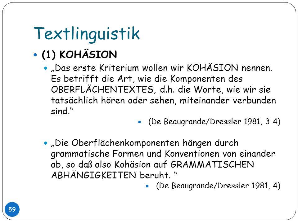 Textlinguistik (1) KOHÄSION