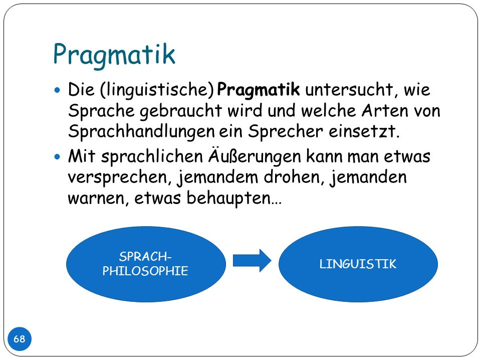 PragmatikDie (linguistische) Pragmatik untersucht, wie Sprache gebraucht wird und welche Arten von Sprachhandlungen ein Sprecher einsetzt.