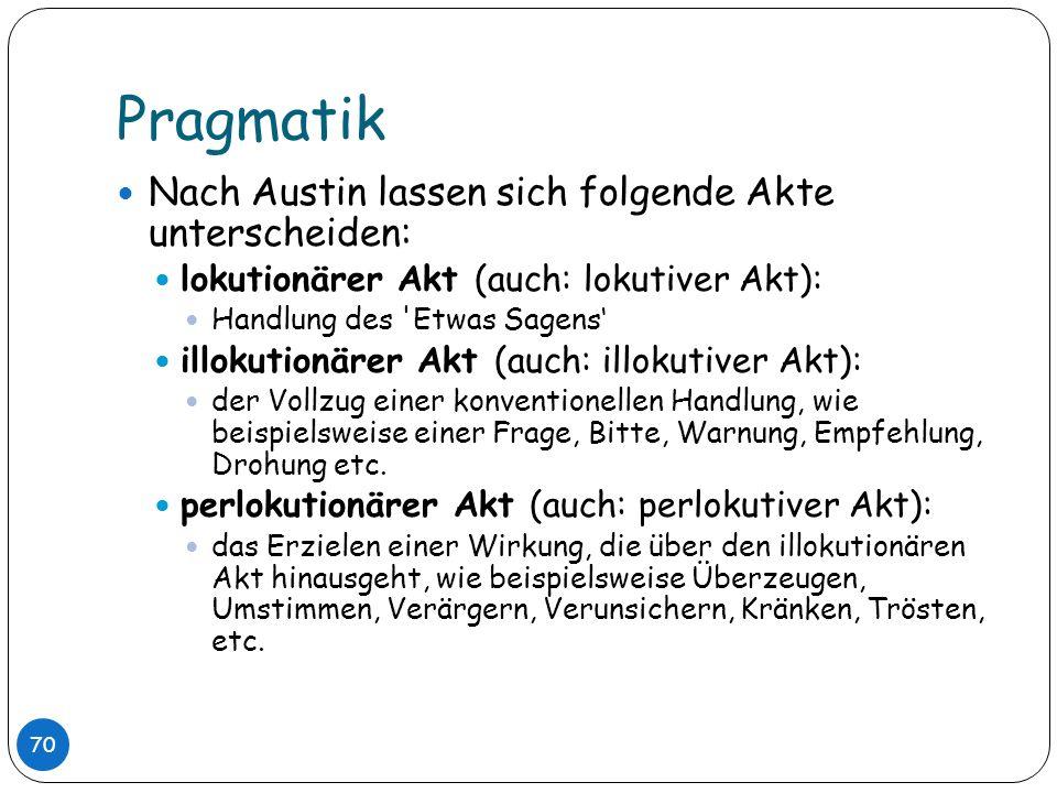 Pragmatik Nach Austin lassen sich folgende Akte unterscheiden: