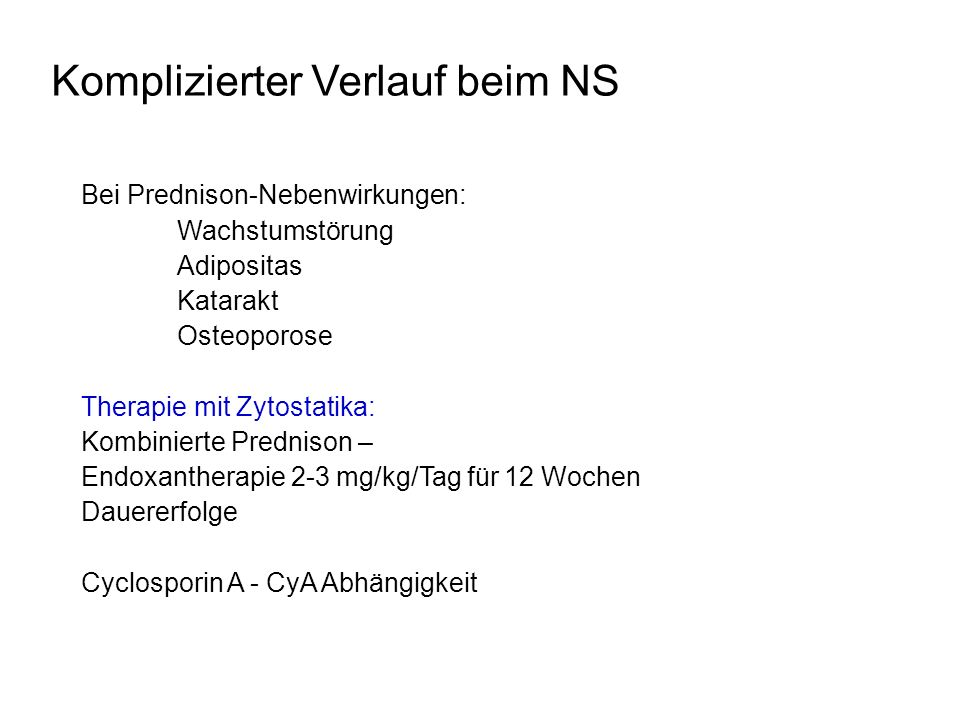 Komplizierter Verlauf beim NS