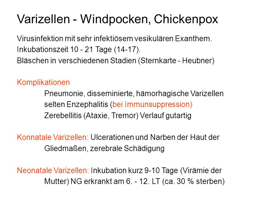 Varizellen - Windpocken, Chickenpox