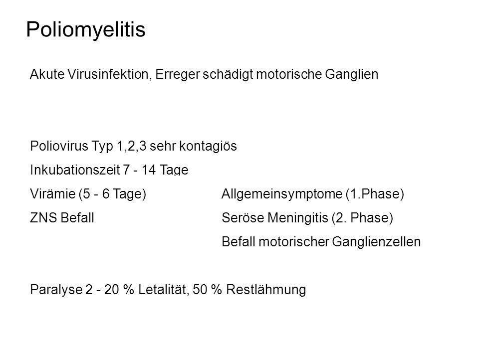 Poliomyelitis Akute Virusinfektion, Erreger schädigt motorische Ganglien. Poliovirus Typ 1,2,3 sehr kontagiös.