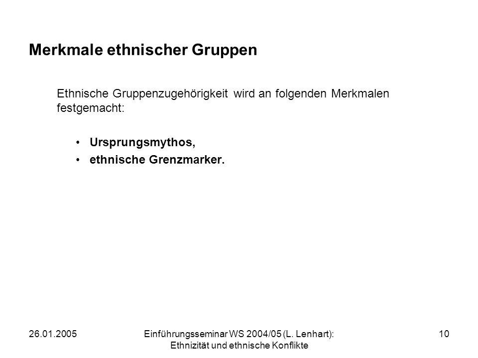 Merkmale ethnischer Gruppen