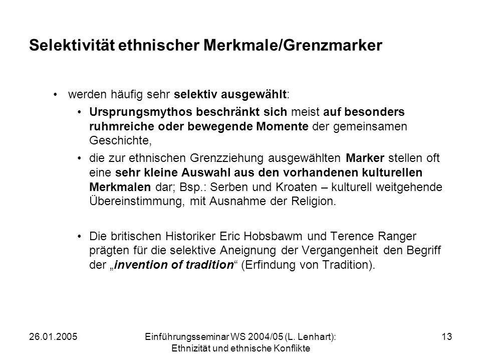 Selektivität ethnischer Merkmale/Grenzmarker
