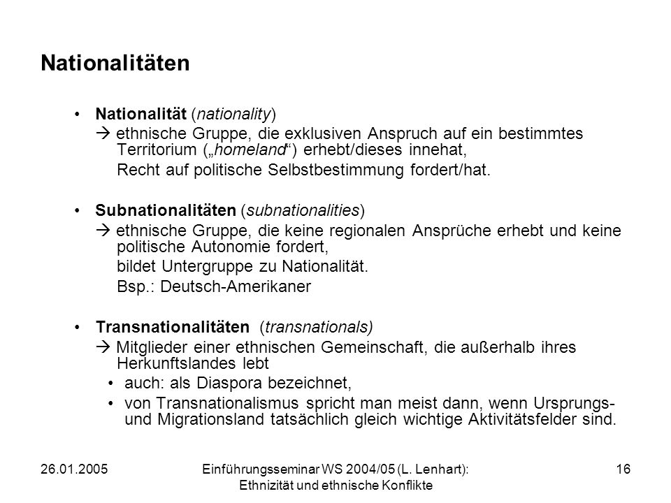 Nationalitäten Nationalität (nationality)