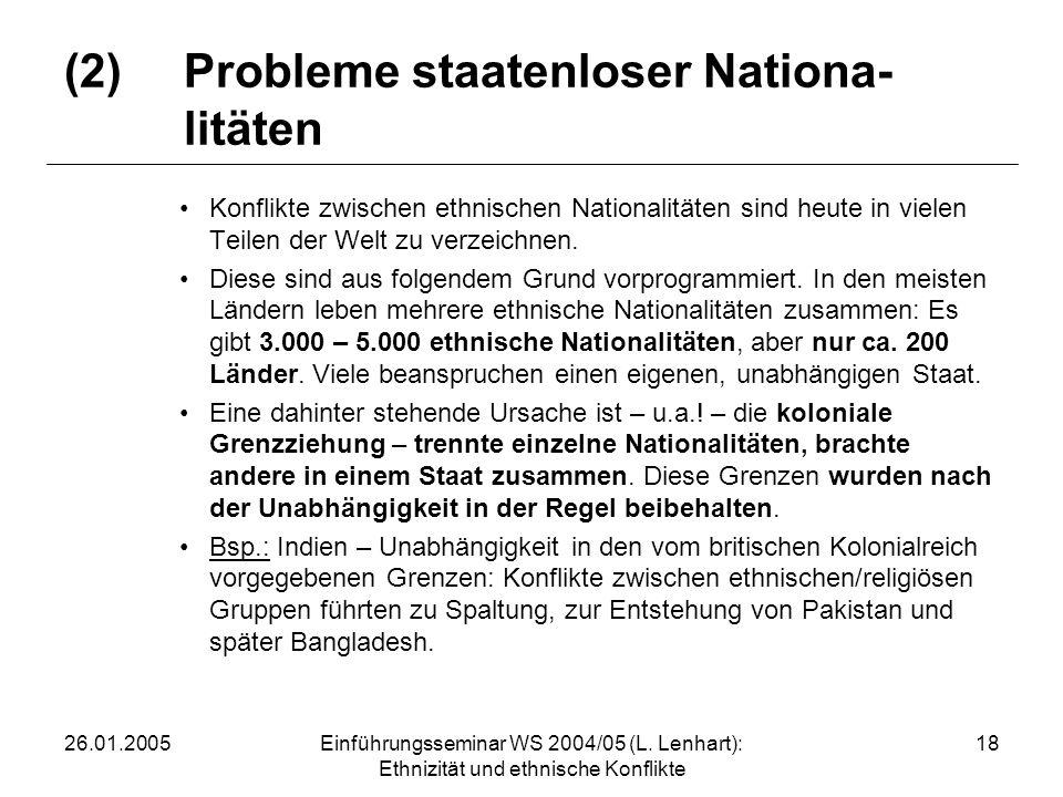 (2) Probleme staatenloser Nationa- litäten