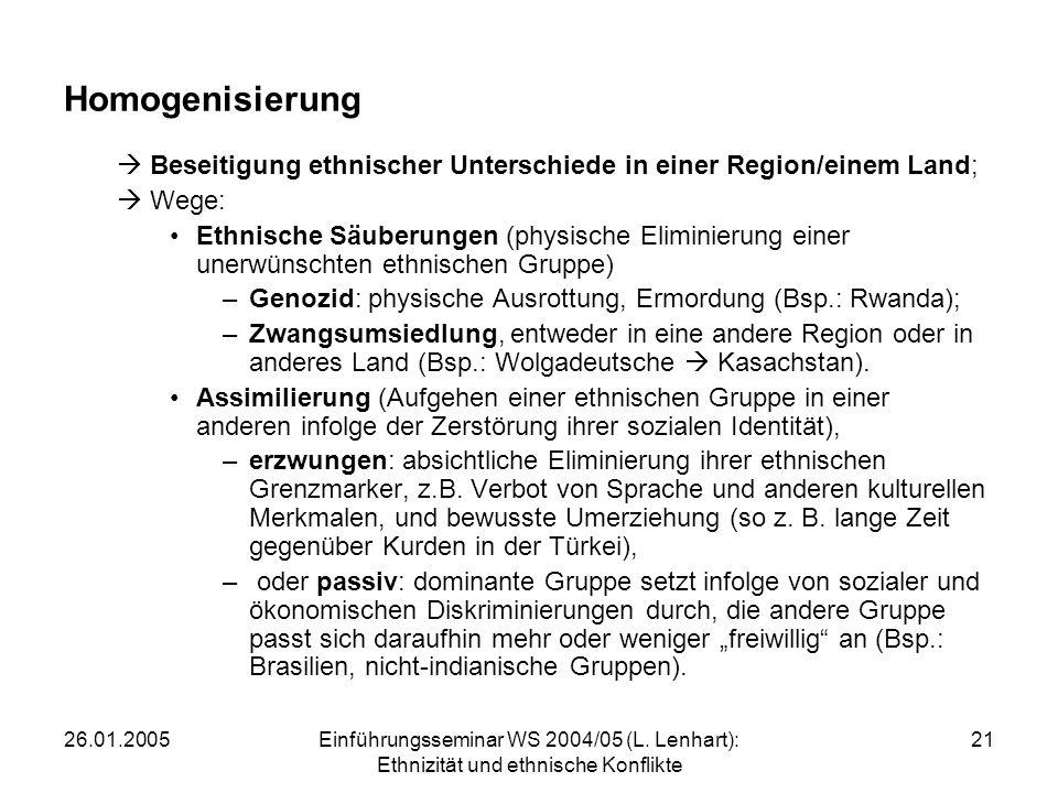Homogenisierung Beseitigung ethnischer Unterschiede in einer Region/einem Land; Wege: