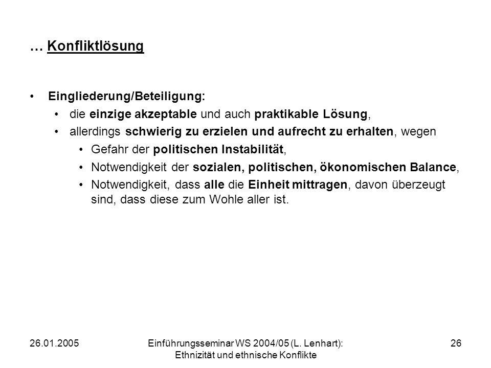 … Konfliktlösung Eingliederung/Beteiligung: