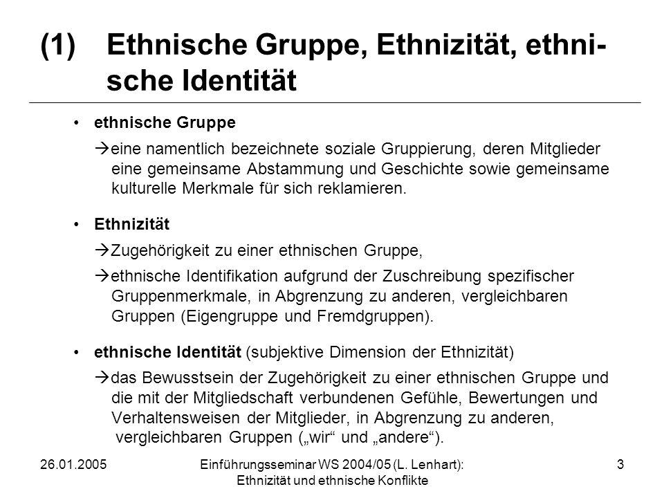 (1) Ethnische Gruppe, Ethnizität, ethni- sche Identität