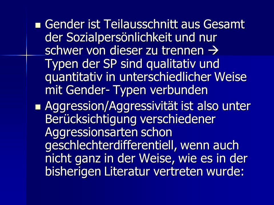 Gender ist Teilausschnitt aus Gesamt der Sozialpersönlichkeit und nur schwer von dieser zu trennen  Typen der SP sind qualitativ und quantitativ in unterschiedlicher Weise mit Gender- Typen verbunden