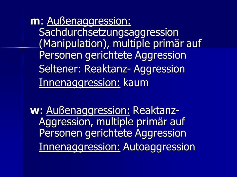 m: Außenaggression: Sachdurchsetzungsaggression (Manipulation), multiple primär auf Personen gerichtete Aggression