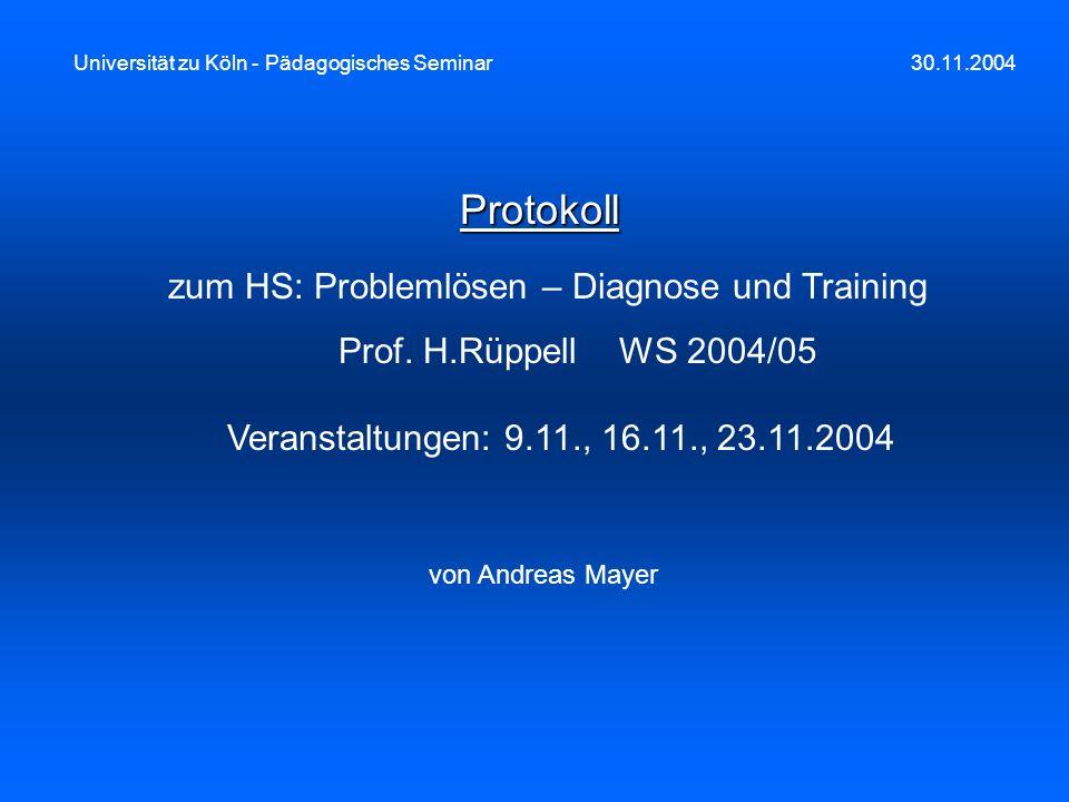 zum HS: Problemlösen – Diagnose und Training