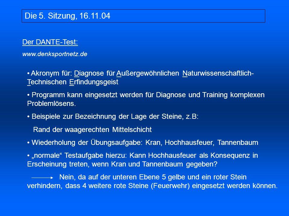 Die 5. Sitzung, 16.11.04 Der DANTE-Test: