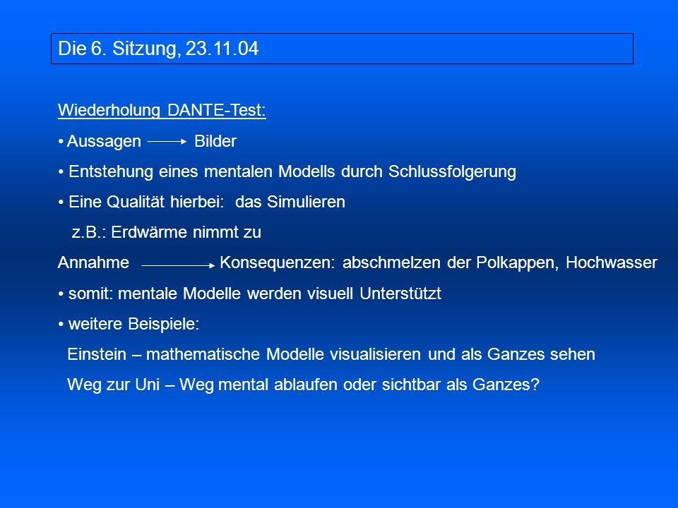 Die 6. Sitzung, 23.11.04 Wiederholung DANTE-Test: Aussagen Bilder