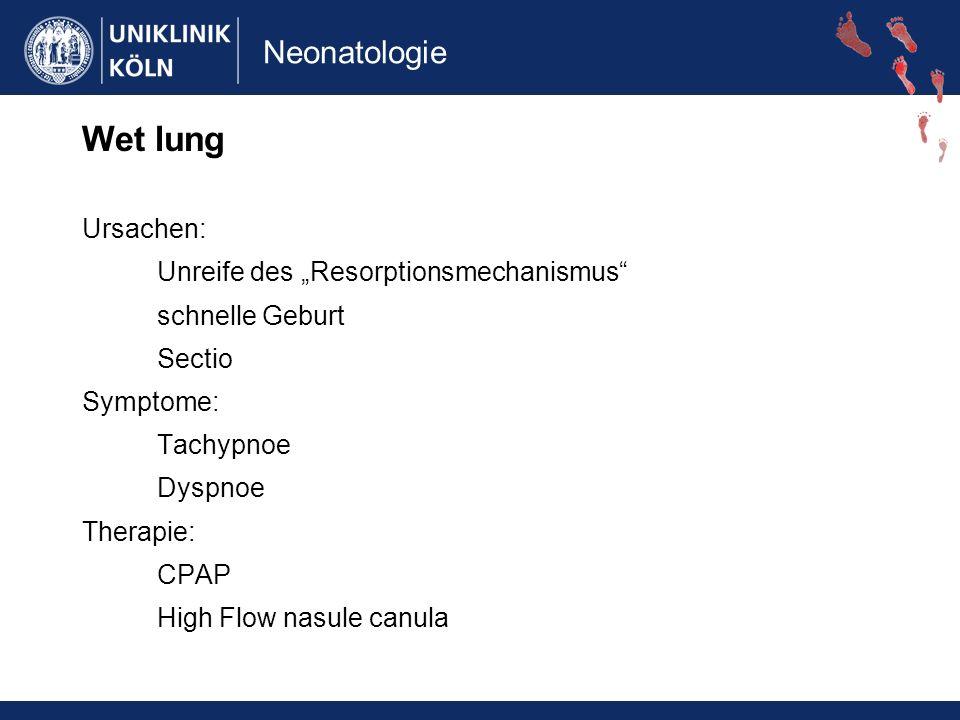 "Wet lung Ursachen: Unreife des ""Resorptionsmechanismus"