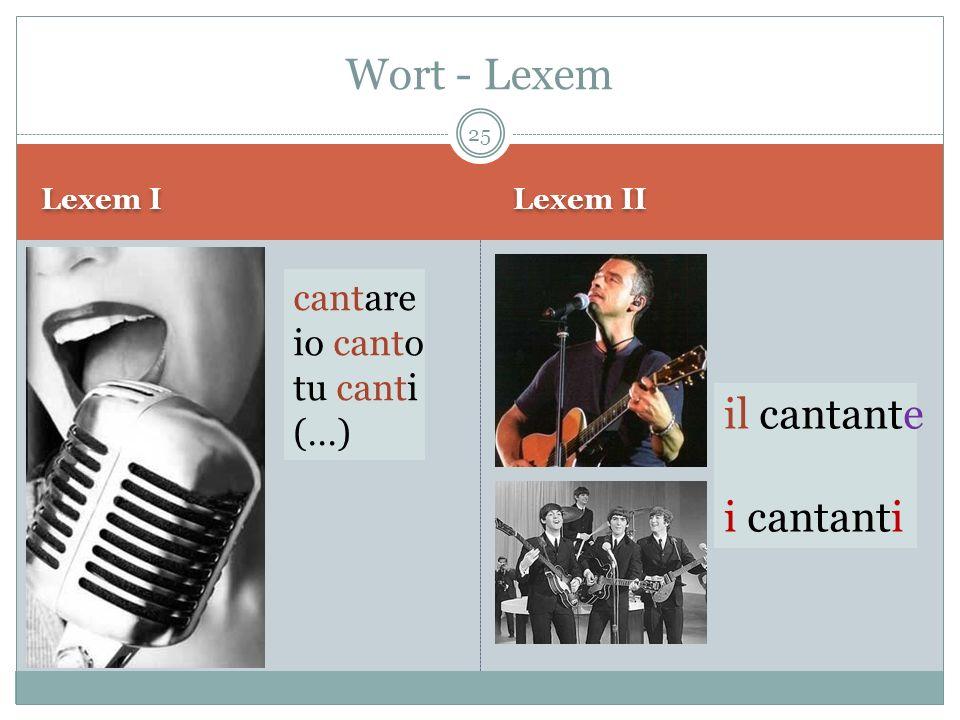 Wort - Lexem il cantante i cantanti cantare io canto tu canti (…)