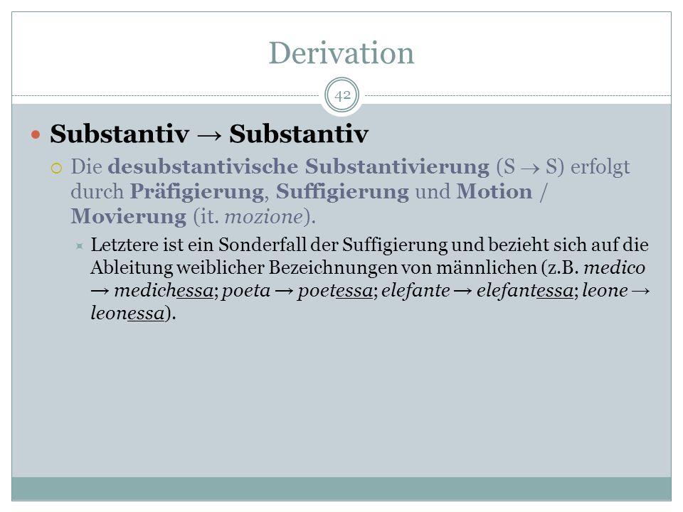 Derivation Substantiv → Substantiv