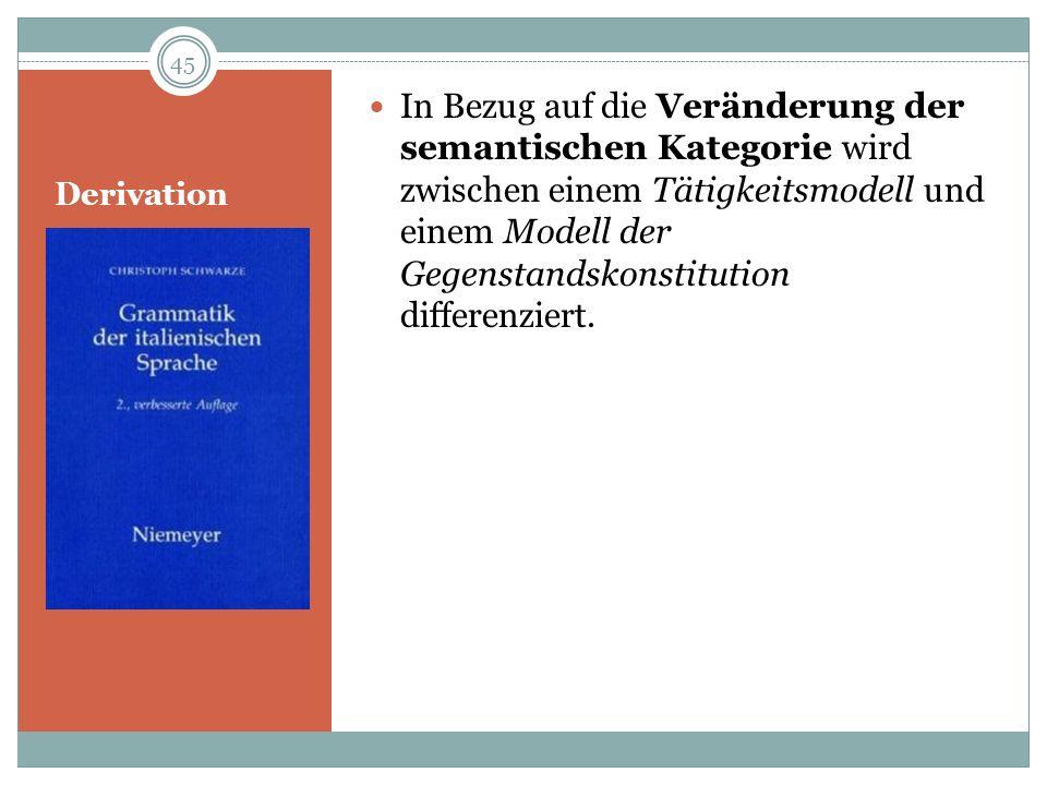 In Bezug auf die Veränderung der semantischen Kategorie wird zwischen einem Tätigkeitsmodell und einem Modell der Gegenstandskonstitution differenziert.