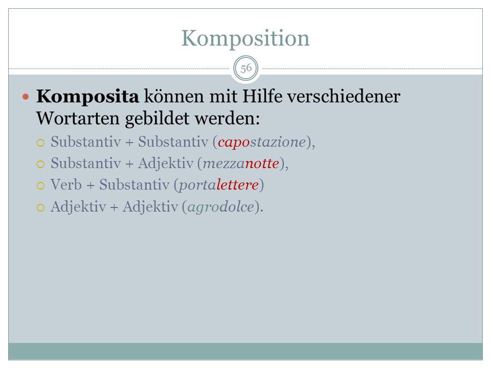 KompositionKomposita können mit Hilfe verschiedener Wortarten gebildet werden: Substantiv + Substantiv (capostazione),