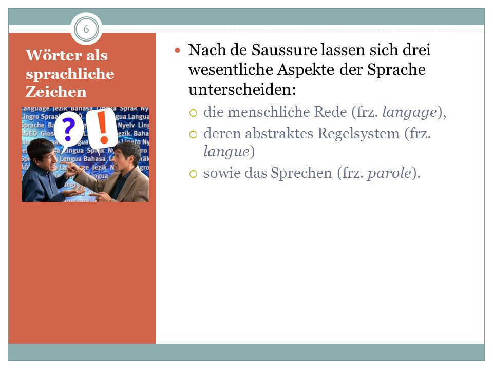Wörter als sprachliche Zeichen