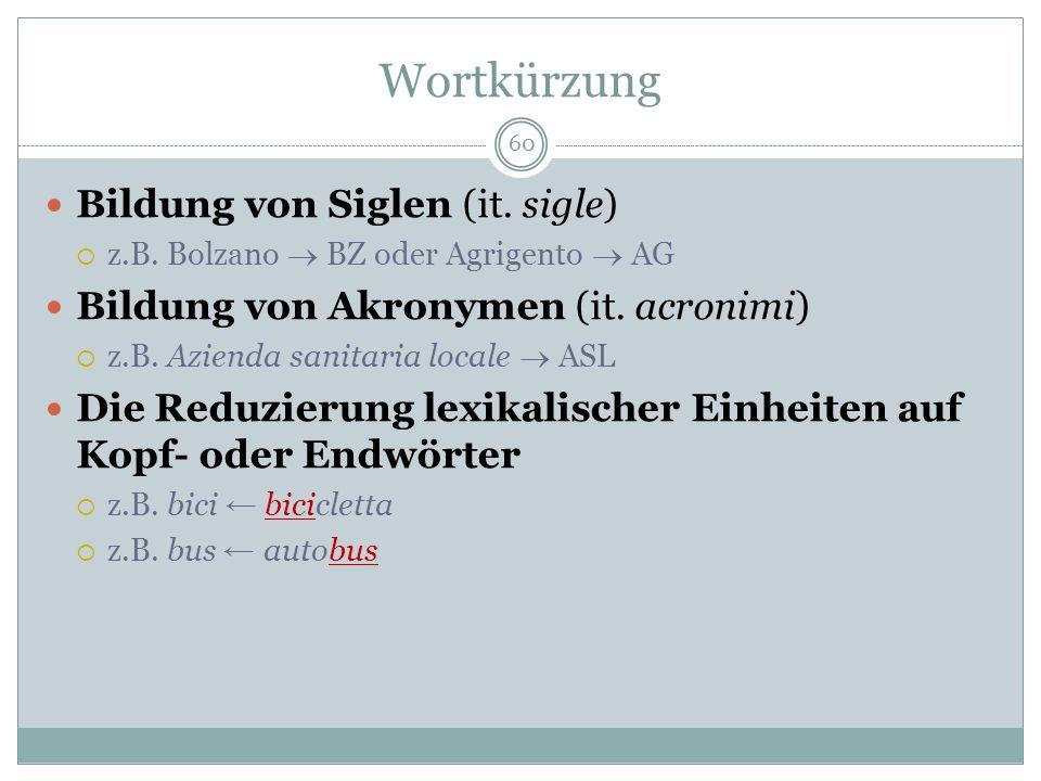 Wortkürzung Bildung von Siglen (it. sigle)