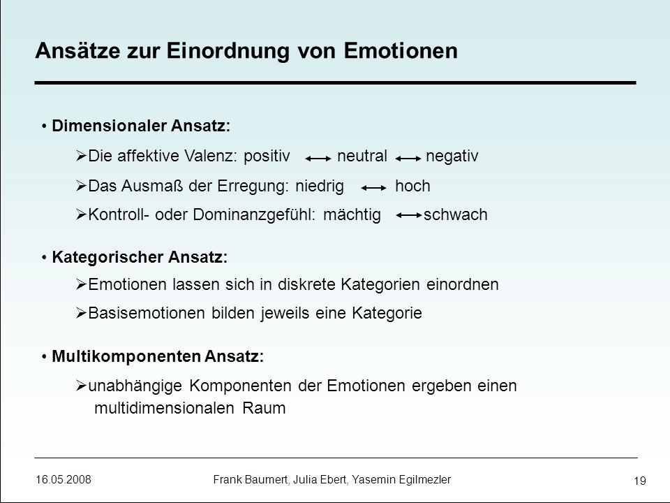 Ansätze zur Einordnung von Emotionen