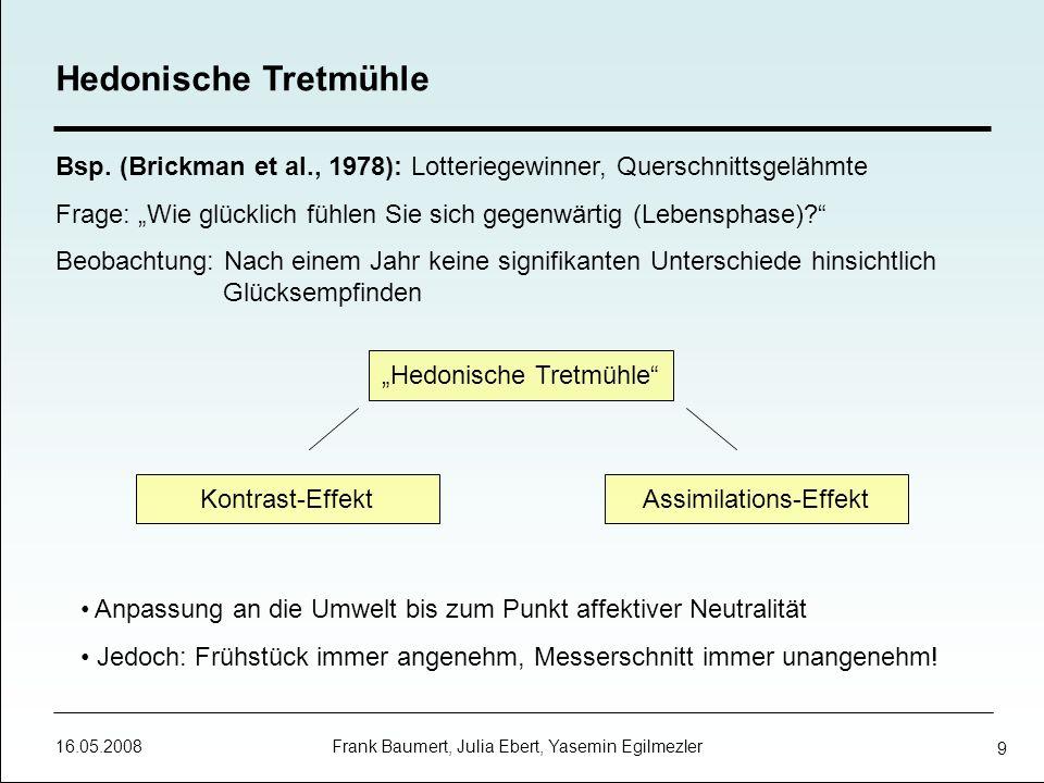 Hedonische Tretmühle Bsp. (Brickman et al., 1978): Lotteriegewinner, Querschnittsgelähmte.