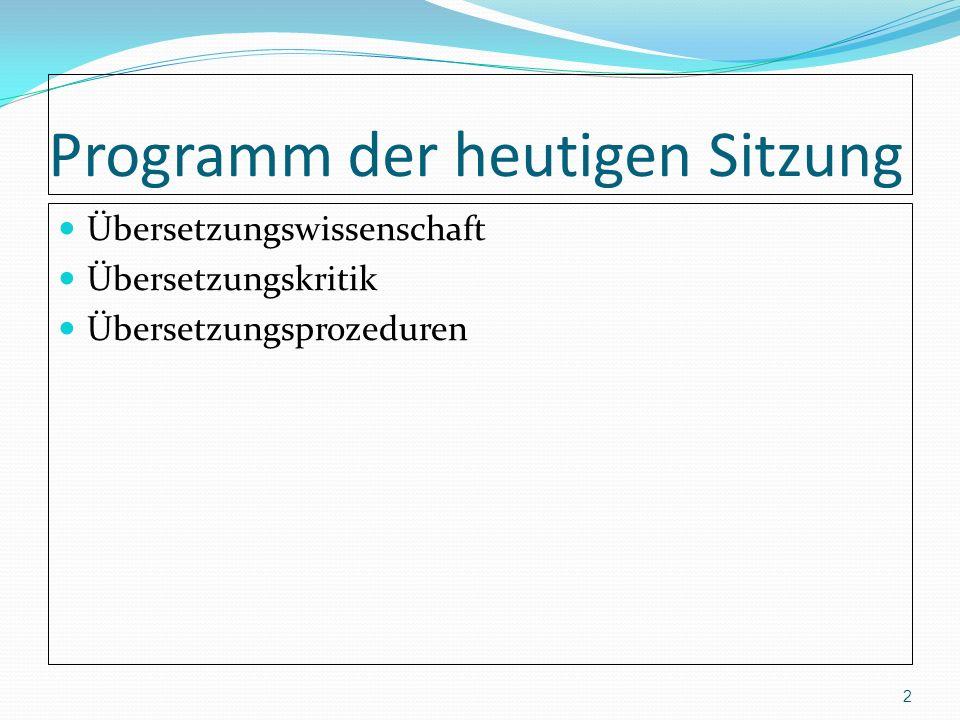 Programm der heutigen Sitzung