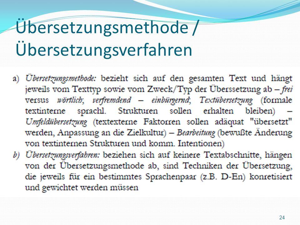 Übersetzungsmethode / Übersetzungsverfahren