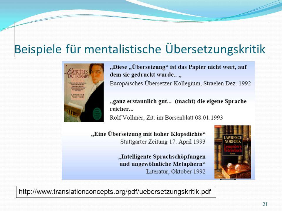 Beispiele für mentalistische Übersetzungskritik