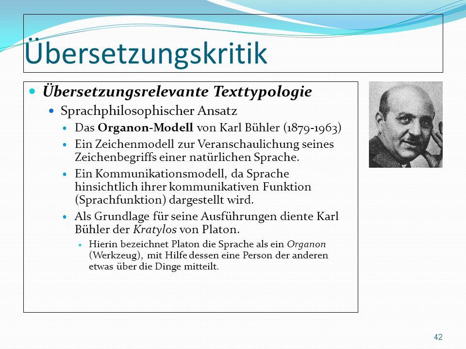 Übersetzungskritik Übersetzungsrelevante Texttypologie