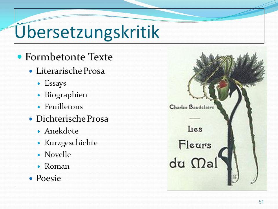 Übersetzungskritik Formbetonte Texte Literarische Prosa