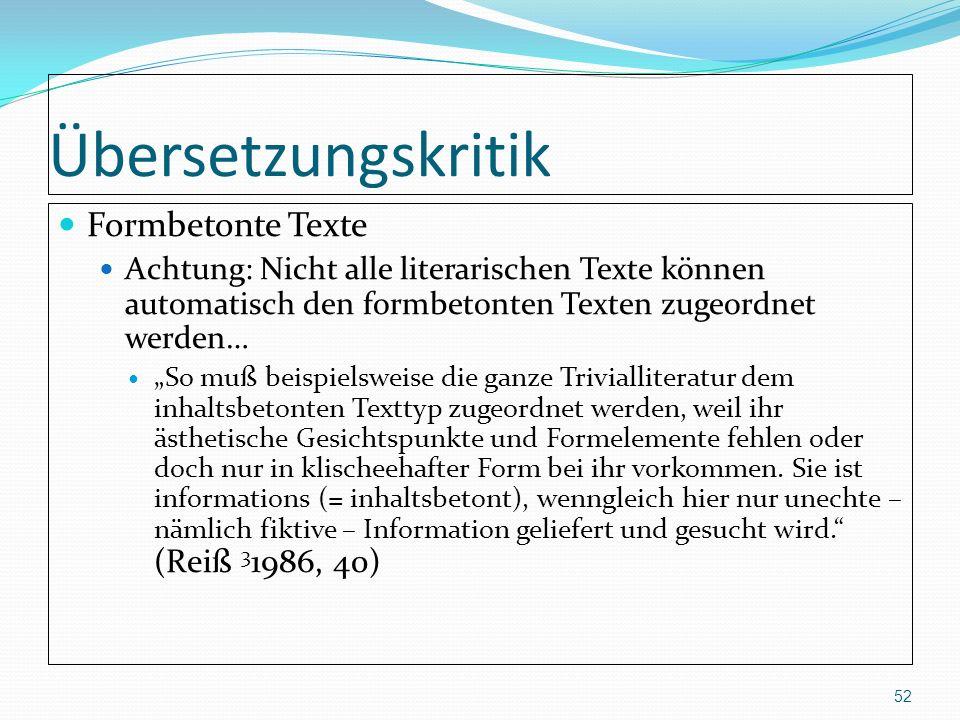 Übersetzungskritik Formbetonte Texte