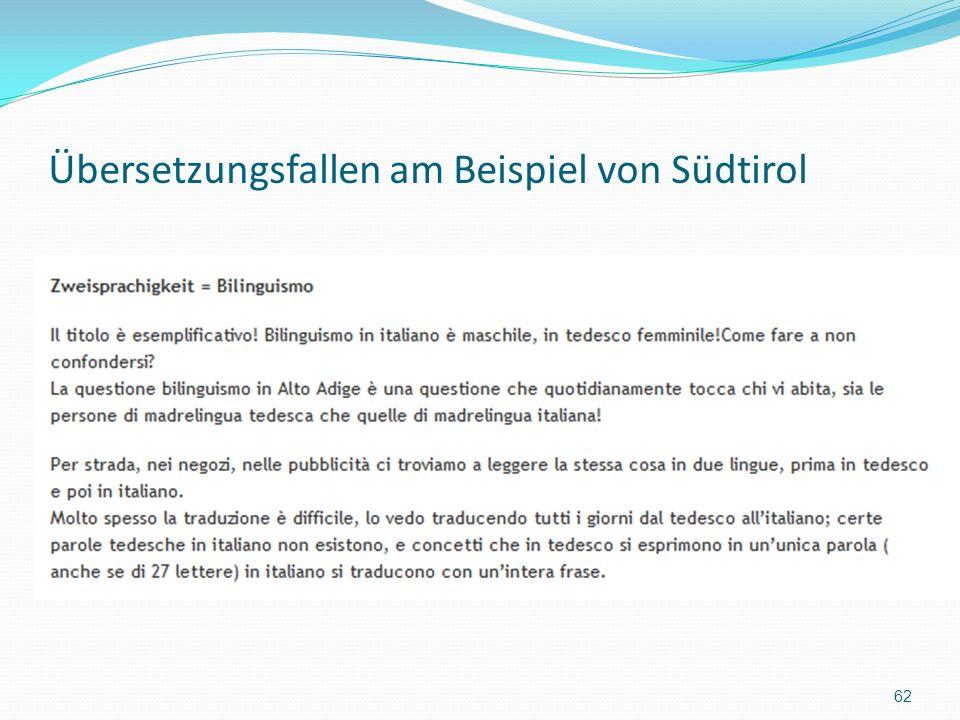 Übersetzungsfallen am Beispiel von Südtirol