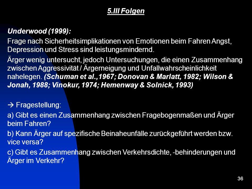 5.III FolgenUnderwood (1999): Frage nach Sicherheitsimplikationen von Emotionen beim Fahren Angst, Depression und Stress sind leistungsmindernd.