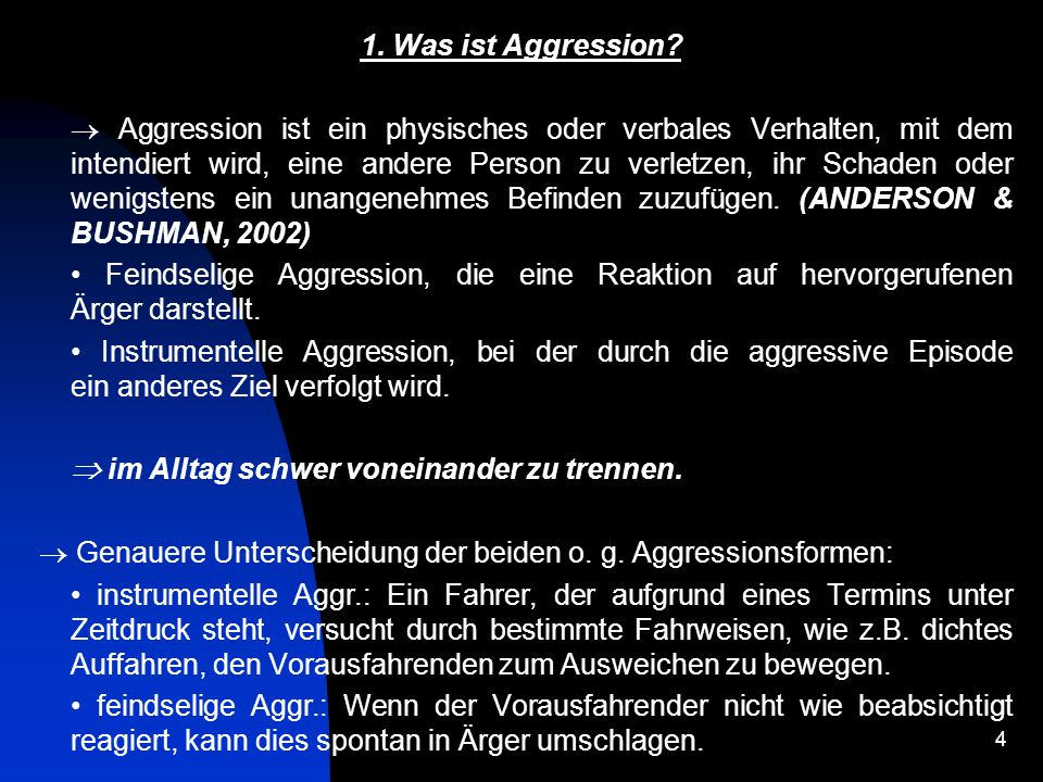 1. Was ist Aggression