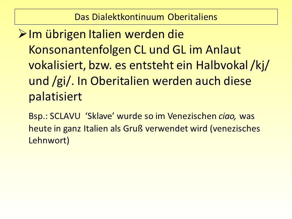 Das Dialektkontinuum Oberitaliens