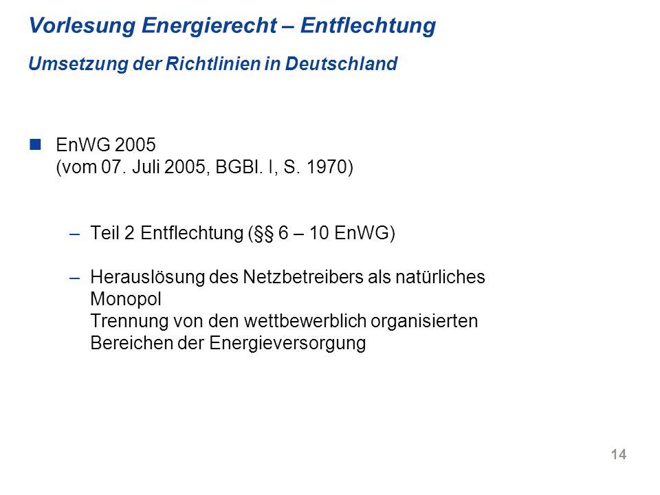 Vorlesung Energierecht – Entflechtung Umsetzung der Richtlinien in Deutschland