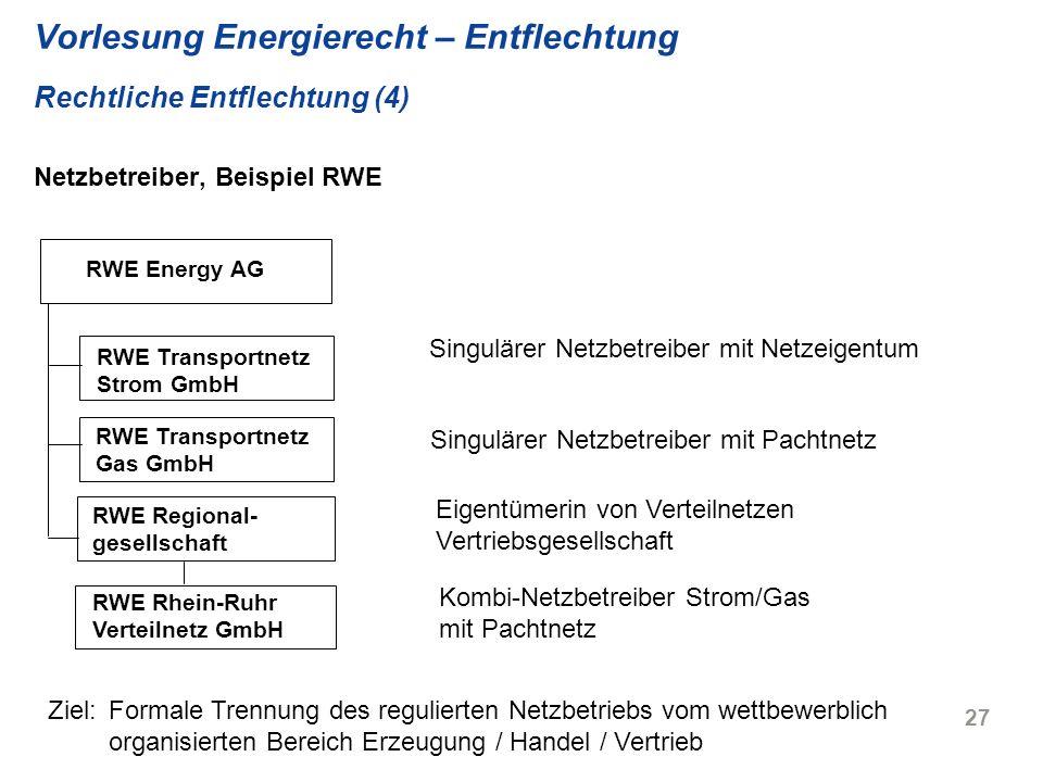 Vorlesung Energierecht – Entflechtung Rechtliche Entflechtung (4) Netzbetreiber, Beispiel RWE