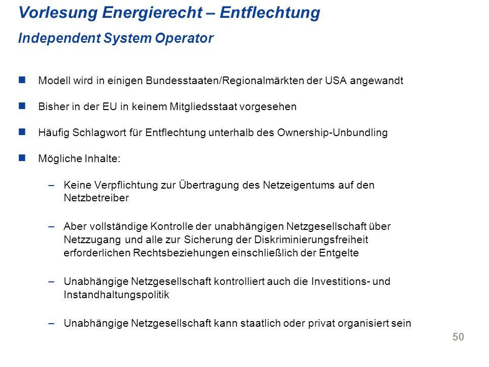 Vorlesung Energierecht – Entflechtung Independent System Operator