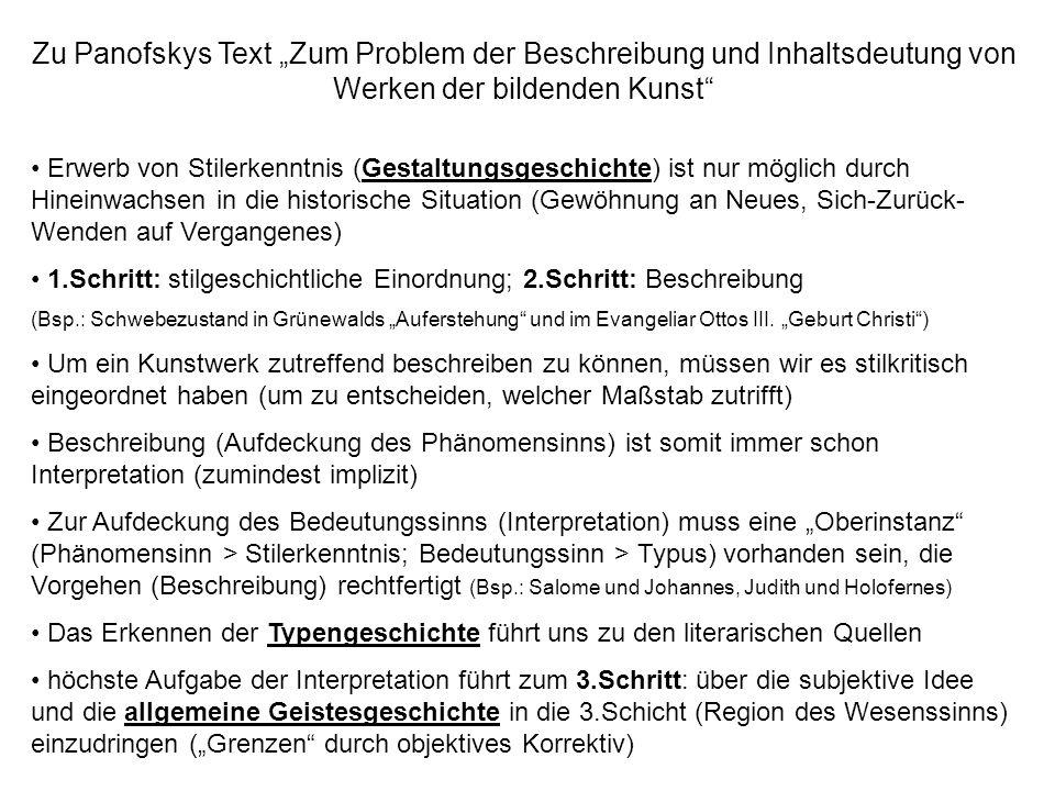 """Zu Panofskys Text """"Zum Problem der Beschreibung und Inhaltsdeutung von Werken der bildenden Kunst"""